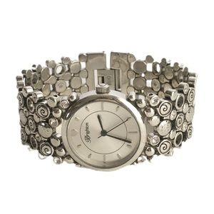 Brighton Watch Silver Plated Crystal Wide Band